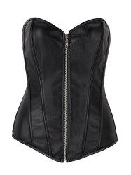 Trendy Faux Leather Zippered Women's Corset