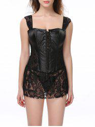 Stunning Lace Up Faux Leather Lacework Corset With G-String