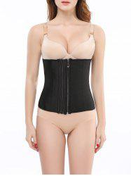 Stunning Pure Color Spliced Tight Zip Up Postpartum Corset - BLACK