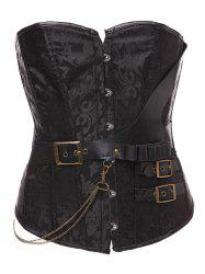 Vintage Paisley Belt Lace Up Steel Boned Corset With G-String