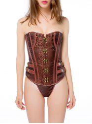 Vintage Button Paisley Lace Up  Corset - BROWN