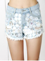 Trendy Ripped Fringe Sequined Distressed Beaded Denim Shorts -