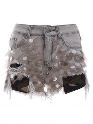 Trendy Ripped Fringe Scale Sequined Distressed Denim Shorts -