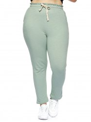 Oversized Simple Drawstring Waist Pure Color Stretchy Slimming Pants -
