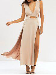 Cut Out Slit Long Night Out Dress - KHAKI