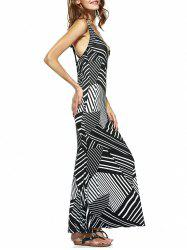 Illusion Attractive Stripe Criss Cross Plunge Neck Maxi Dress -