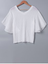 Butterfly Sleeve Pleated White Blouse -