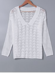 V Neck HollowOut Long Sleeves Knitwear -