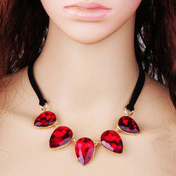 Faux Crystal Water Drop Pendant Necklace -