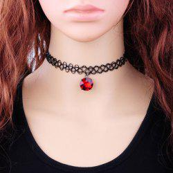 Vintage Faux Zircon Tattoo Choker Necklace - RED