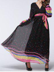 V Neck Polka Dot Puff Sleeves Chiffon Bohemian Dress