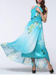 Floral Print Asymmetric Chiffon Flowing Dress - LIGHT BLUE