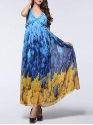 Attractive Women's Feather Pattern Open Back Chiffon Dress - BLUE AND YELLOW