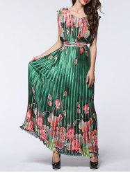 Boho Maxi Floral Pleated Flowy Beachwear Dress -