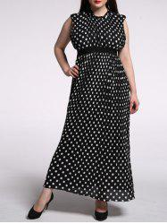 Plus Size Pleated Ruffled Long Polka Dot Dress
