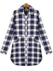 Plus Size Checked Pockets Long Sleeves Shirt