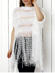 Endearing Pure Color Hollow Out Knitted Blouse For Women -