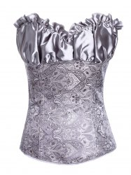 Stunning Lace Up Ruffle Paisley Print  Corset With G-String - GRAY