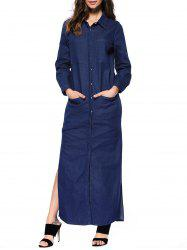 Long Sleeve Slit Denim Maxi Dress with Pockets