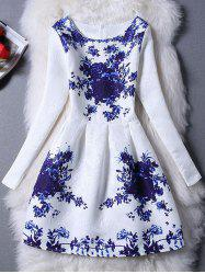 Charming Floral Print Slimming Women's Dress -
