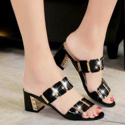 Trendy Block Heel and Metal Design Slippers For Women - BLACK