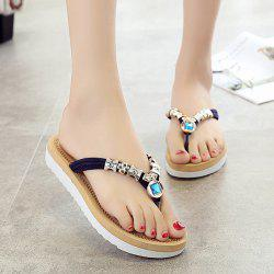 Simple Suede and Artificial Stone Design Slippers For Women