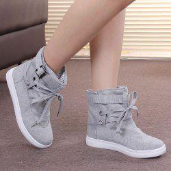Tie Up Buckle Strap Short Boots - GRAY