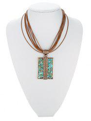 Retro Tiered Rectangle Faux Turquoise Multilayered Necklace
