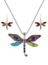 Multicolored Beads Dragonfly Jewelry Set -