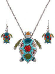 Multicolor Beads Turtle Necklace Set -