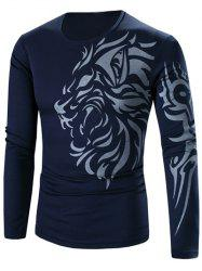 Tattoo Style Tiger Print Round Neck Long Sleeve T-Shirt For Men - CADETBLUE