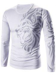 Tattoo Style Tiger Print Round Neck Long Sleeve T-Shirt For Men - WHITE