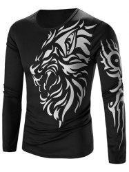 Tattoo Style Tiger Print Round Neck Long Sleeve T-Shirt For Men - BLACK