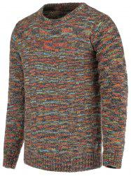 Heathered Plaid Crew Neck Long Sleeve Sweater For Men - COLORMIX