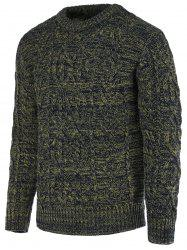 Braid Pattern Heathered Crew Neck Long Sleeve Sweater For Men -