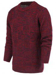 Ribbed Plaid Pattern Crew Neck Long Sleeve Sweater For Men - RED