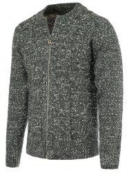 Heathered Braid Zip Up Long Sleeve Cardigan For Men - DEEP GRAY