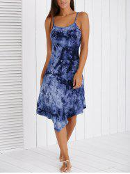 Fashionable Spaghetti Strap Ink Painting High Low Dress -