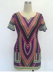 Ethnic V Neck Short Sleeve Printed Dress
