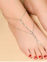 Faux Crystal Beads Toe Ring Anklet - SILVER