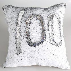 DIY Mermaid Sequins Cushion Cover Pillow Case - SILVER AND WHITE