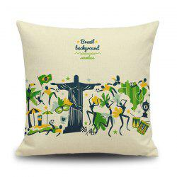 Cartoon Brazil Olympic Game Linen Back Throw Pillow Case