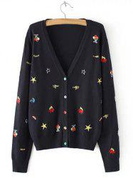 Plus Size Casual Embroidery Single Breasted Cardigan