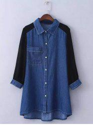 Plus Size Chiffon Sleeve Long Denim Tunic Shirt - DEEP BLUE