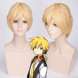 Light Yellow Medium with Ponytail Anime Vocaloid Kagamine Len Cosplay Wig