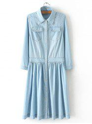 Plus Size Casual Draped Distressed Denim Shirt Dress