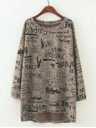 Plus Size Casual Letter Pattern Baggy Blouse