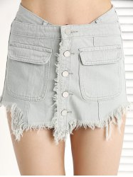 Trendy Ripped Fringe Pocket Button Denim Skirt Shorts -