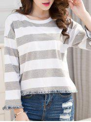 Striped Frayed Hem T-Shirt -