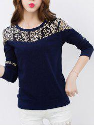 Lace Panel Crew Neck T-Shirt
